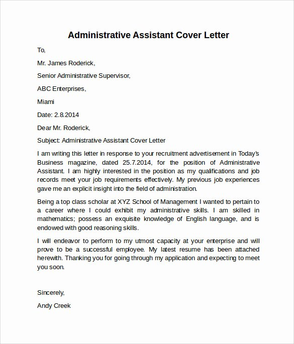 Cover Letter for Executive assistant Awesome 10 Administrative assistant Cover Letters – Samples