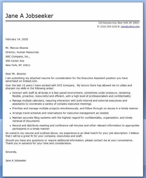 Cover Letter for Executive assistant Awesome Executive assistant Cover Letter Samples