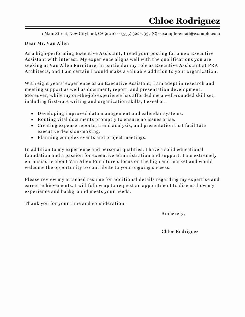 Cover Letter for Executive assistant Best Of Best Executive assistant Cover Letter Examples