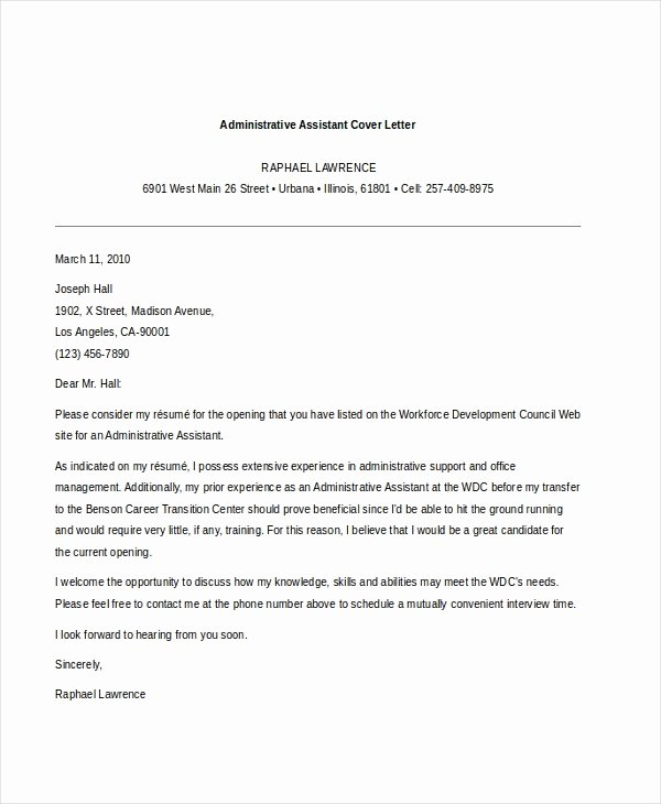 Cover Letter for Executive assistant Elegant Free 7 Sample Administrative assistant Cover Letter