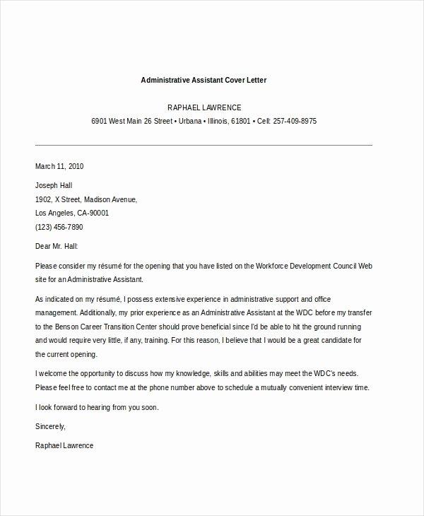 Cover Letter for Executive assistant Elegant Free 7 Sample Administrative assistant Cover Letter