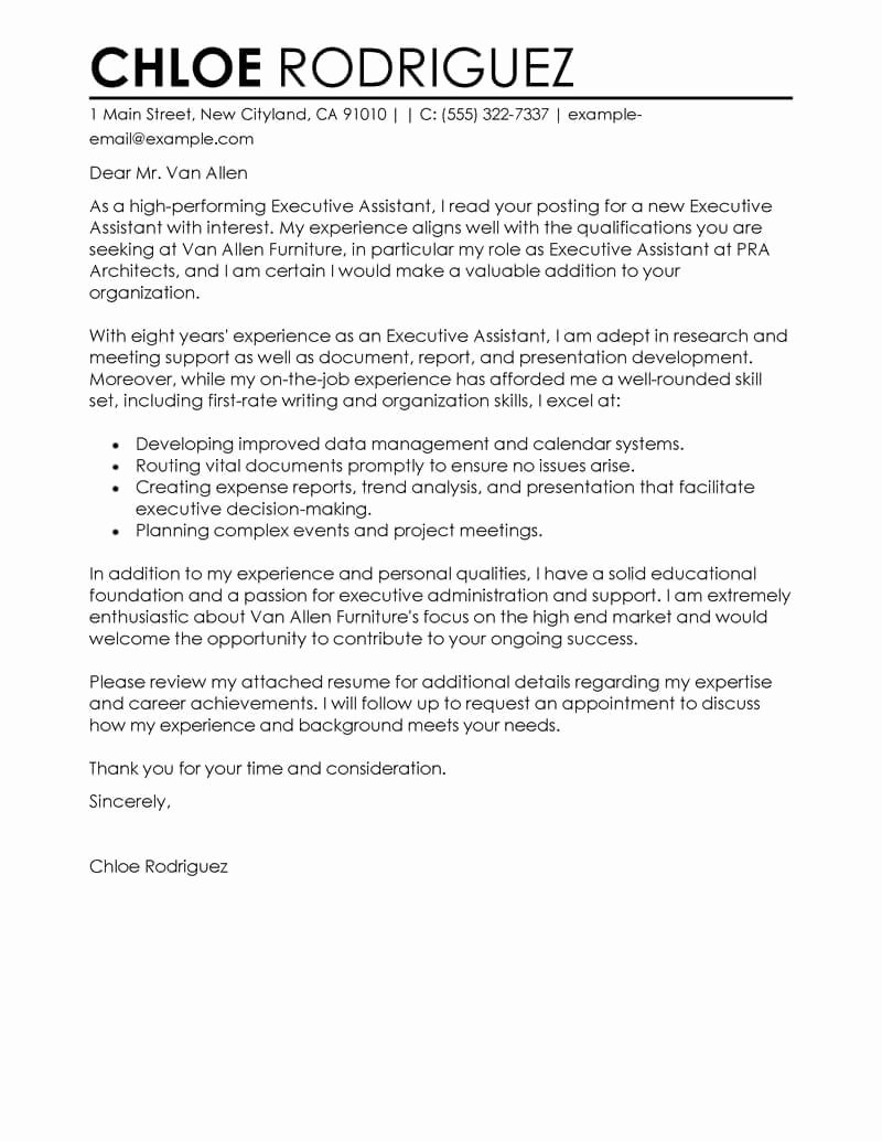 Cover Letter for Executive assistant Fresh Best Executive assistant Cover Letter Examples