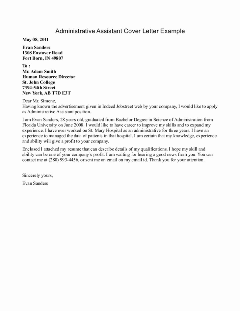 Cover Letter for Executive assistant Inspirational Best Entry Level Administrative assistant Cover Letter