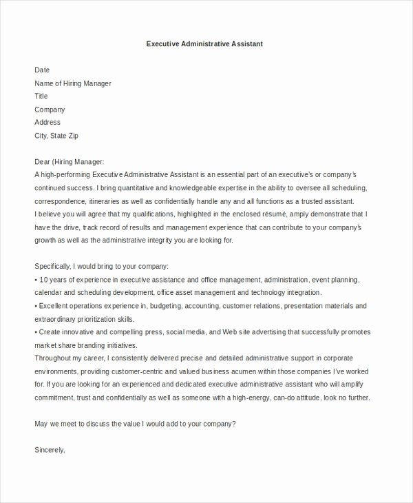 Cover Letter for Executive assistant Inspirational Sample Administrative assistant Cover Letter 7 Free
