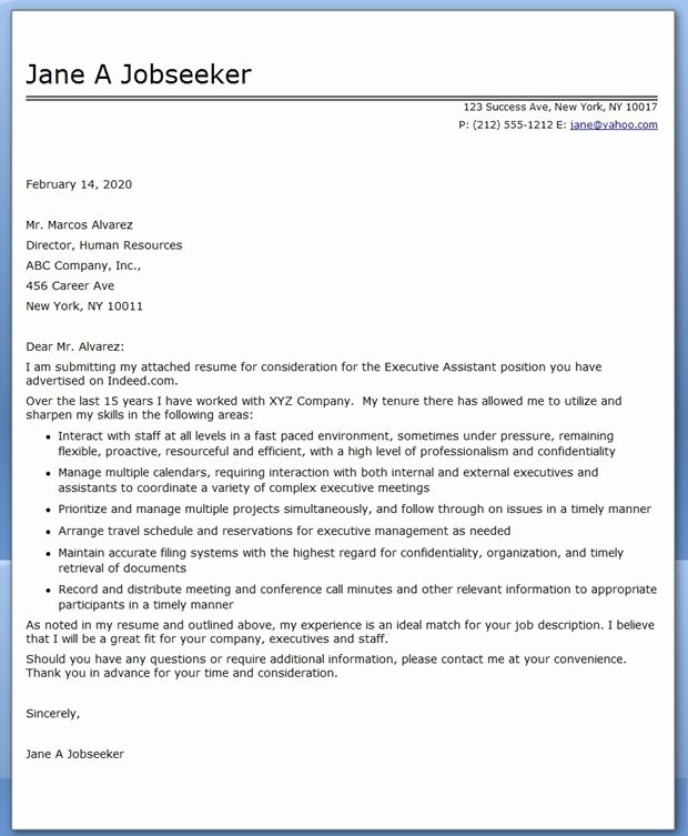 Cover Letter for Executive assistant Lovely Executive assistant Cover Letter Samples