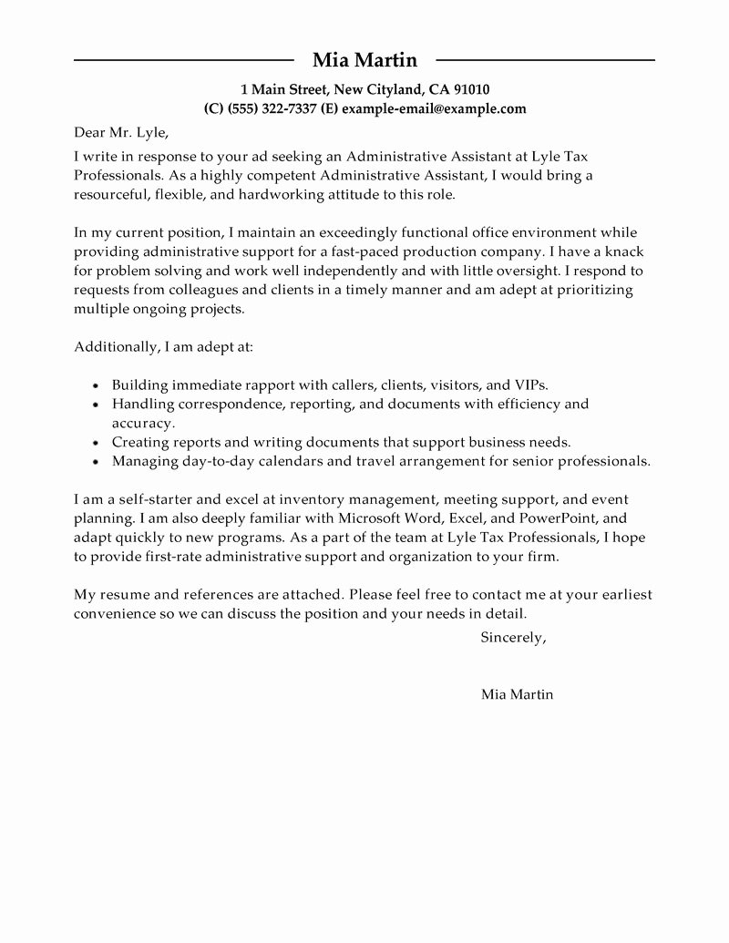 Cover Letter for Executive assistant Unique Best Administrative assistant Cover Letter Examples
