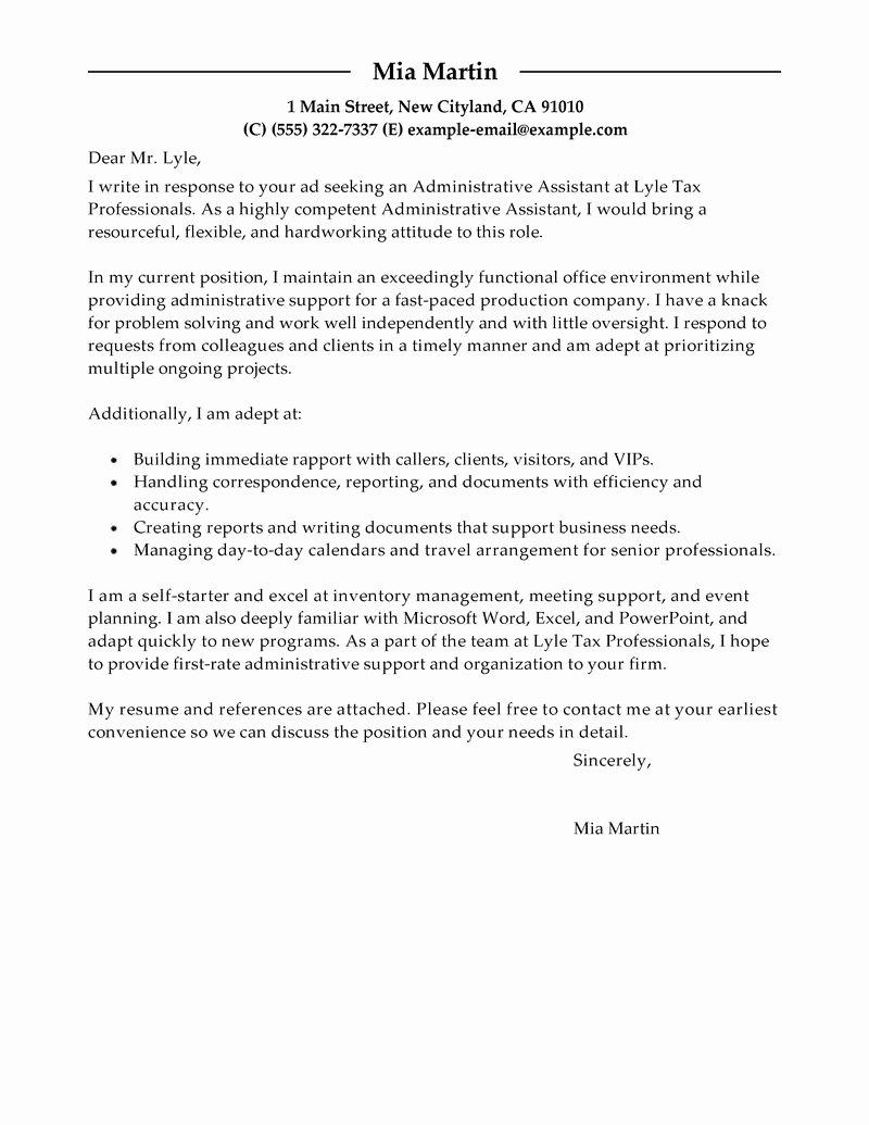 Cover Letter for Executive assistant Unique Best Administrative assistant Cover Letter Examples