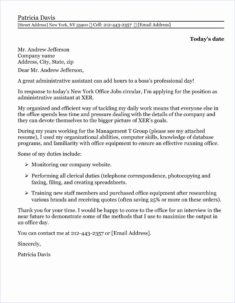 Cover Letter for Executive assistant Unique Fice Circular Sample Sample Of Circular for Staff