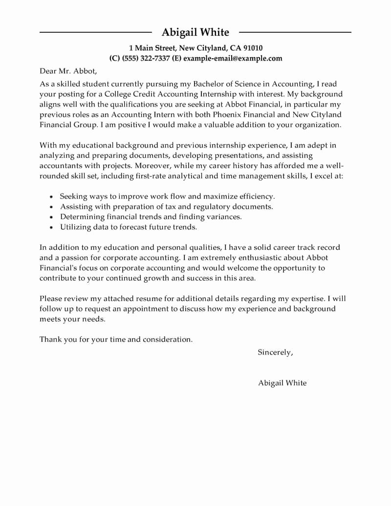 Cover Letter for Internship Template Beautiful Best Training Internship College Credits Cover Letter