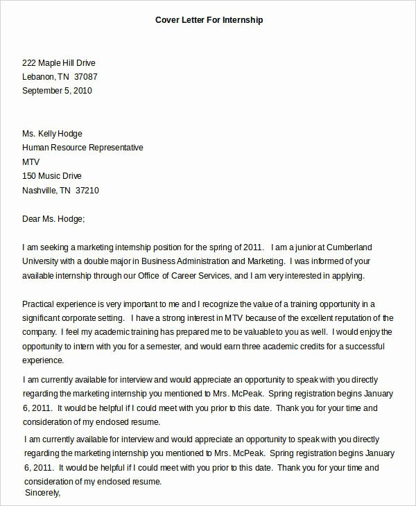 Cover Letter for Internship Template Lovely Cover Letters for Internship 7 Free Word Pdf Documents