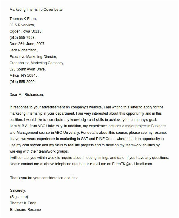 Cover Letter Template for Internship Fresh Cover Letters for Internship 7 Free Word Pdf Documents