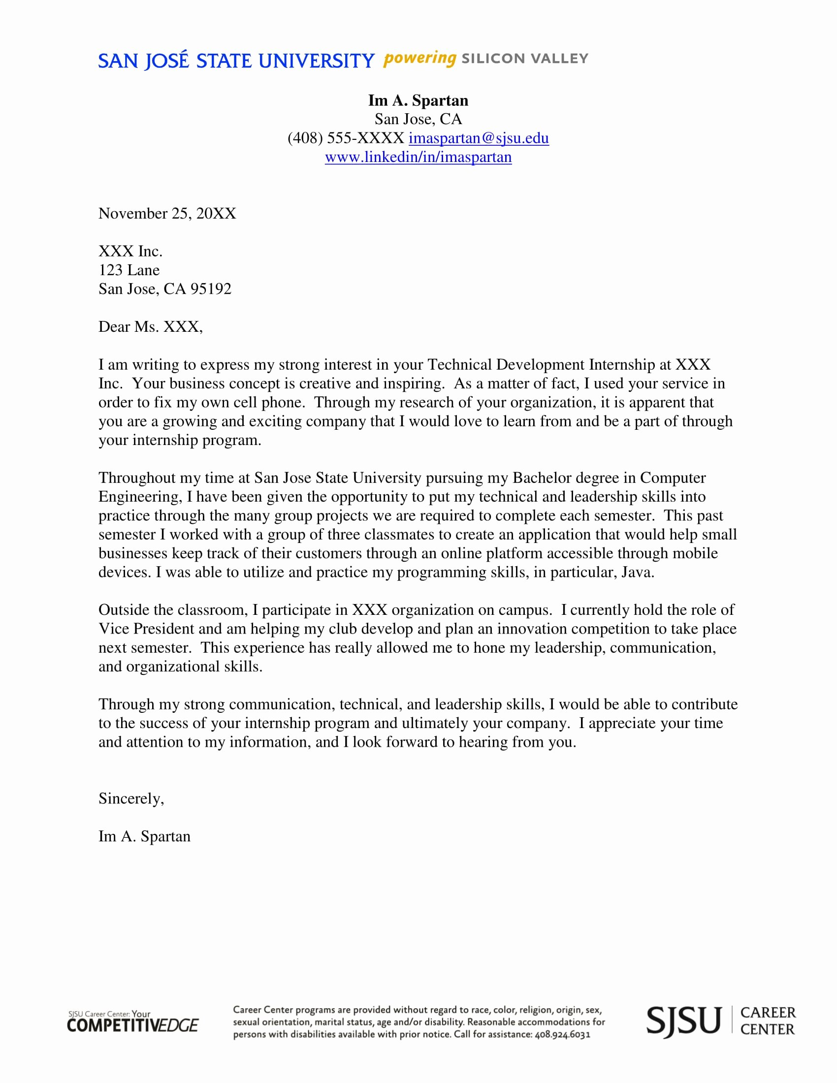 Cover Letter Template for Internship Unique 16 Best Cover Letter Samples for Internship Wisestep