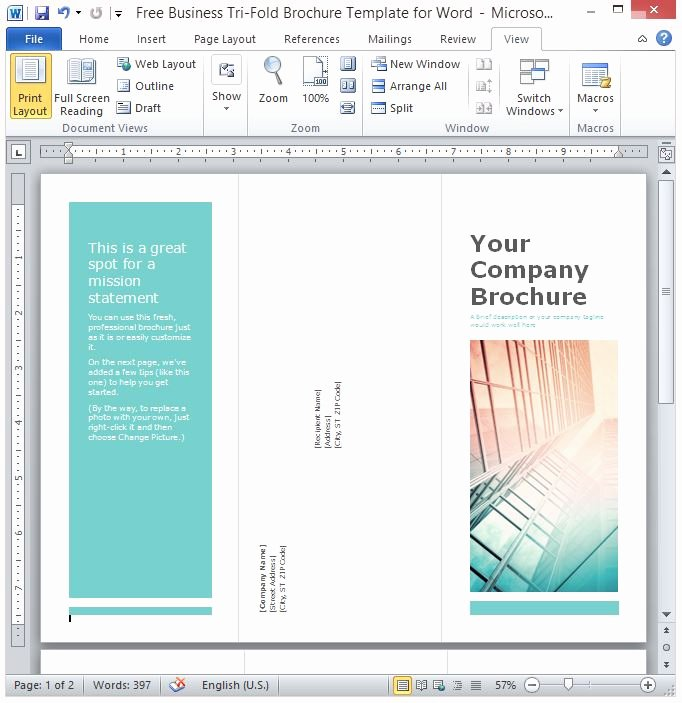 Create A Flyer In Word Luxury Free Business Tri Fold Brochure Template for Word