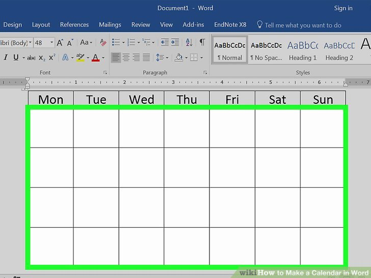 Create Calendar In Word Awesome How to Make A Calendar In Word with Wikihow