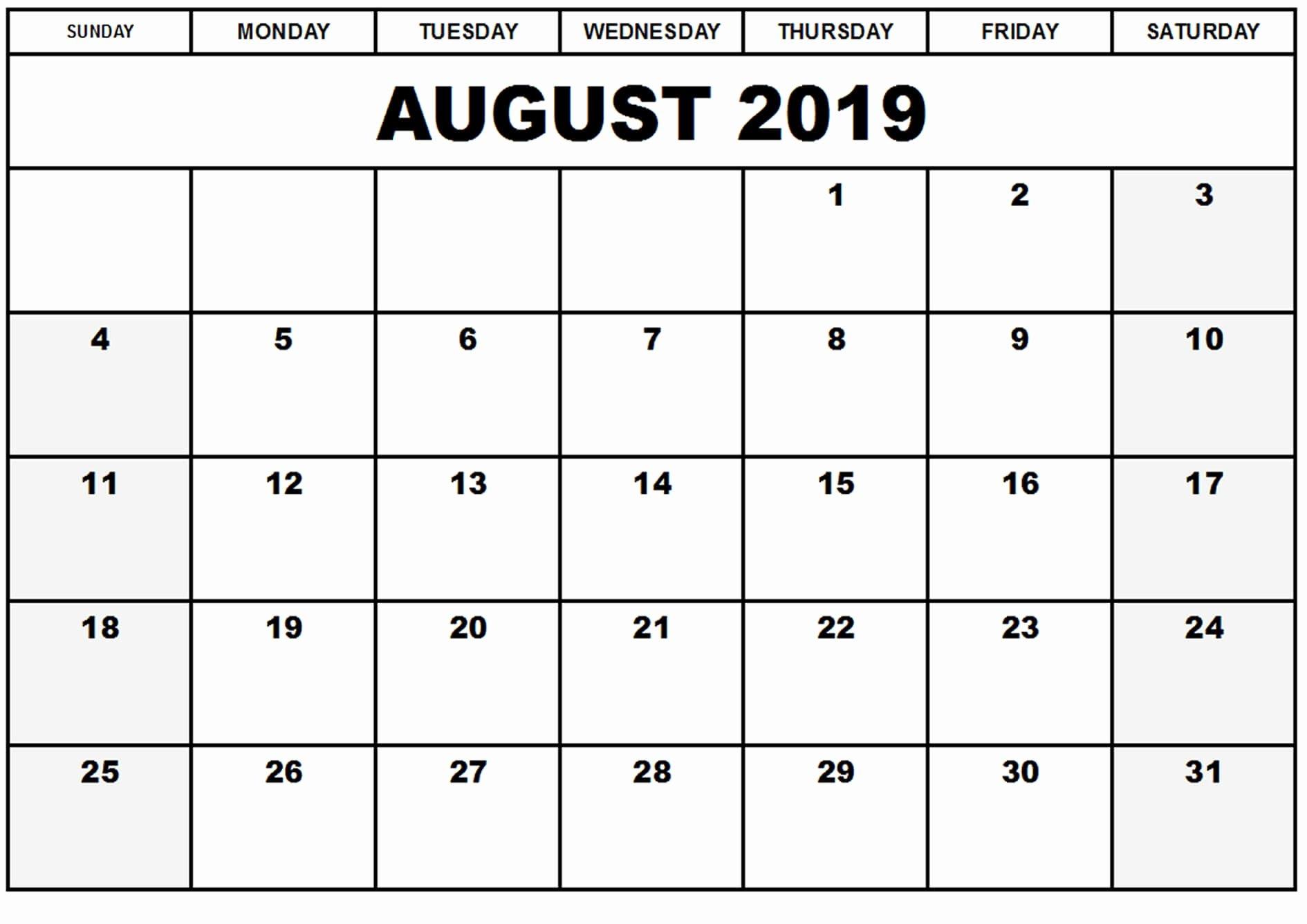 Create Calendar In Word Elegant August 2019 Calendar Word