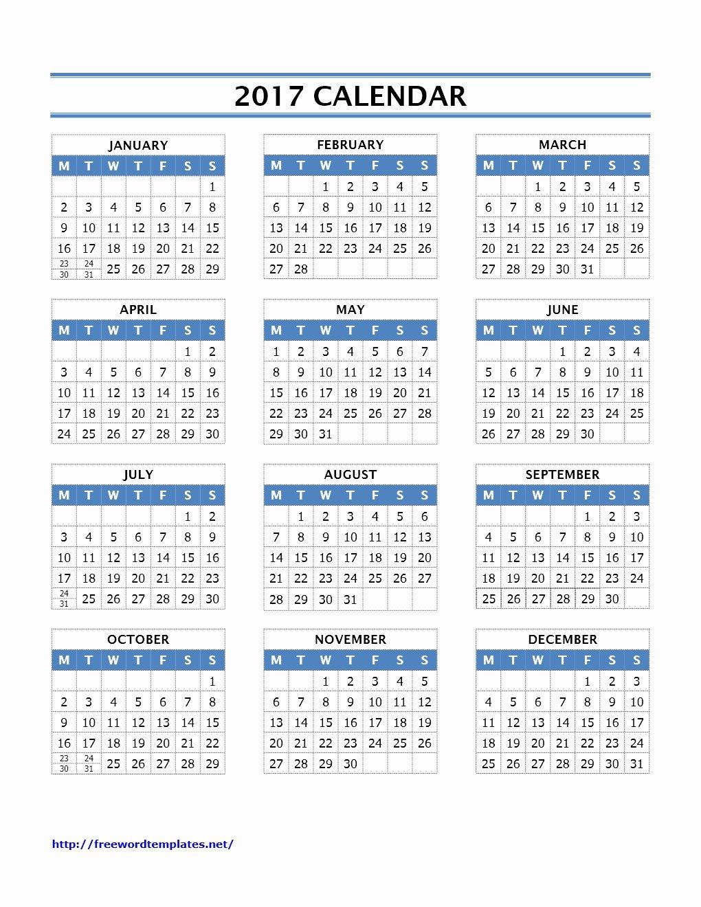 Create Calendar In Word Inspirational 2017 Calendar Templates