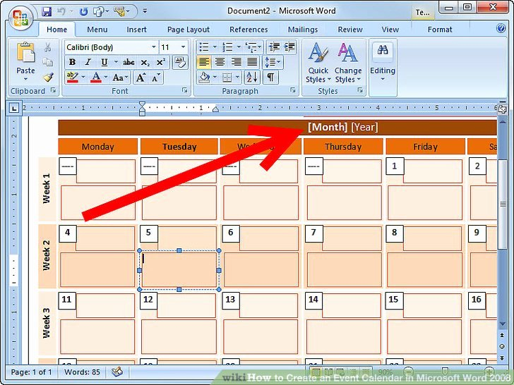 Create Calendar In Word Inspirational How to Create An event Calendar In Microsoft Word 2008 7