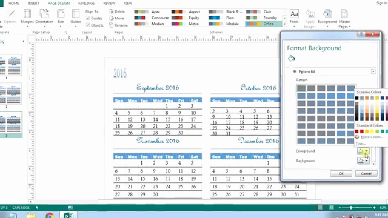 create a calendar in word
