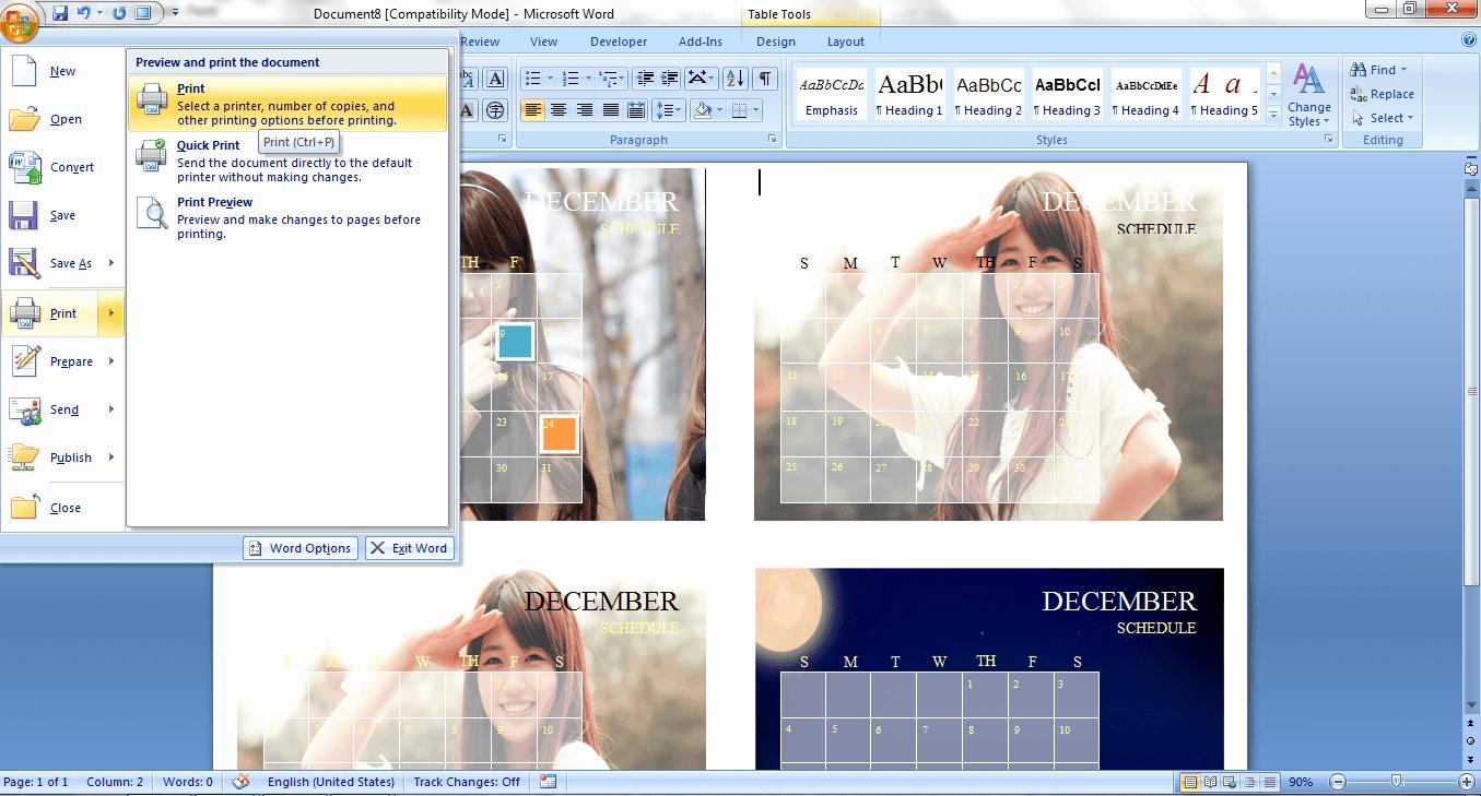 Create Calendar In Word Lovely How to Create A Custom Calendar In Ms Word 2007 [guide