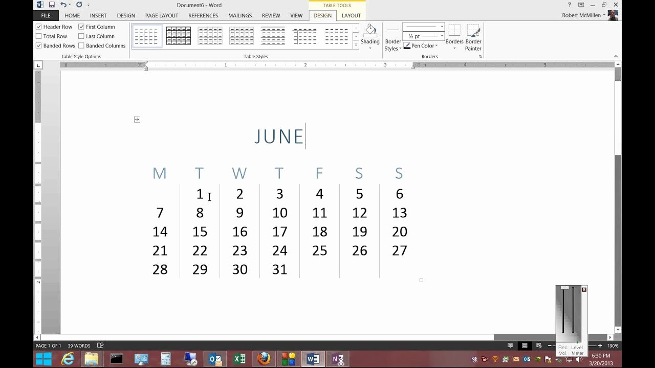 Create Calendar In Word New How to Insert A Calendar In Microsoft Word 2013