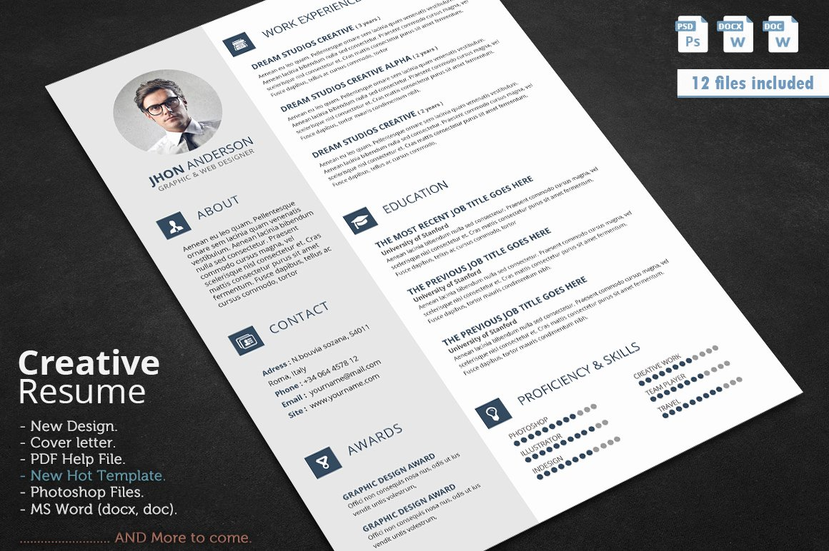 Creative Cover Letter Template Awesome Creative Resume Cv Template with Cover Letter and
