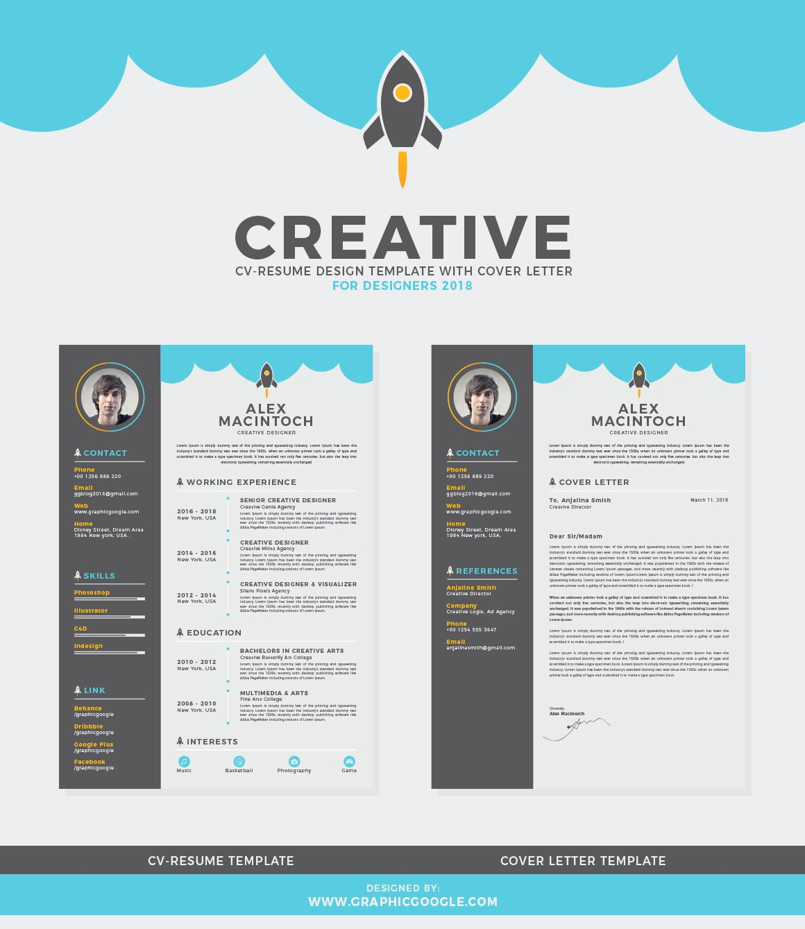 Creative Cover Letter Template Awesome Free Creative Cv Resume Design Template with Cover Letter