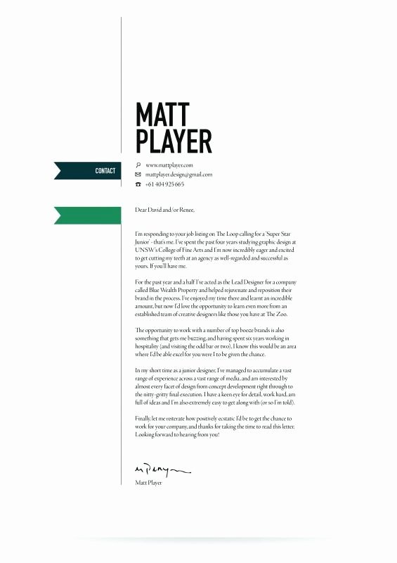 Creative Cover Letter Template Elegant Cover Letter Design Resume Design