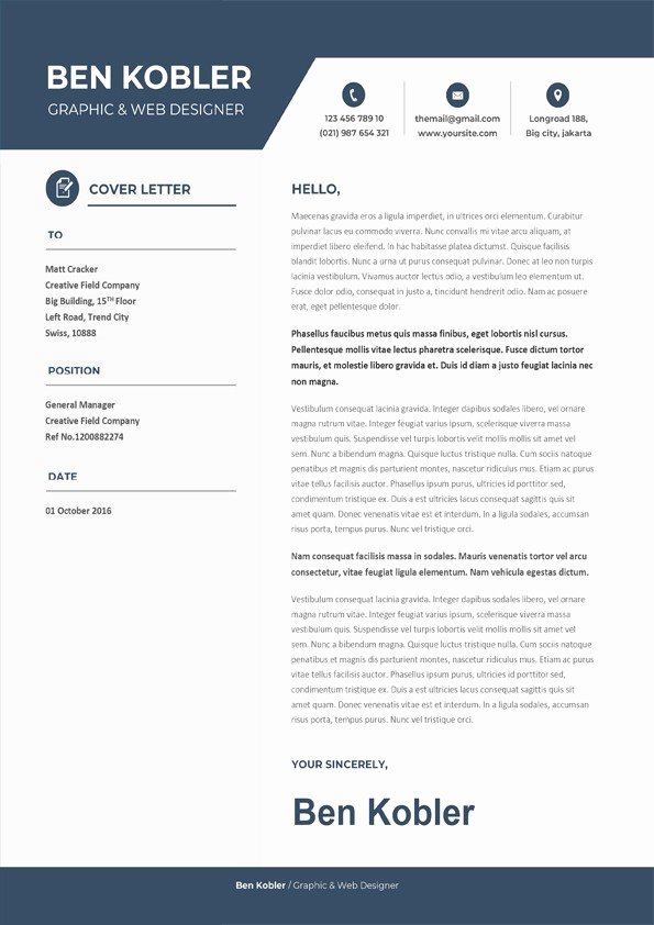 Creative Cover Letter Template Inspirational Professional & Creative Cover Letter Downloadable Cover