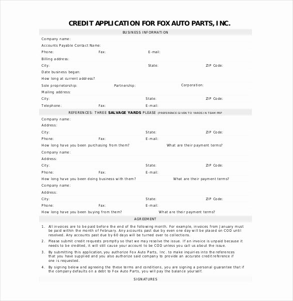 Credit Application form Pdf Beautiful Auto Credit Application Template