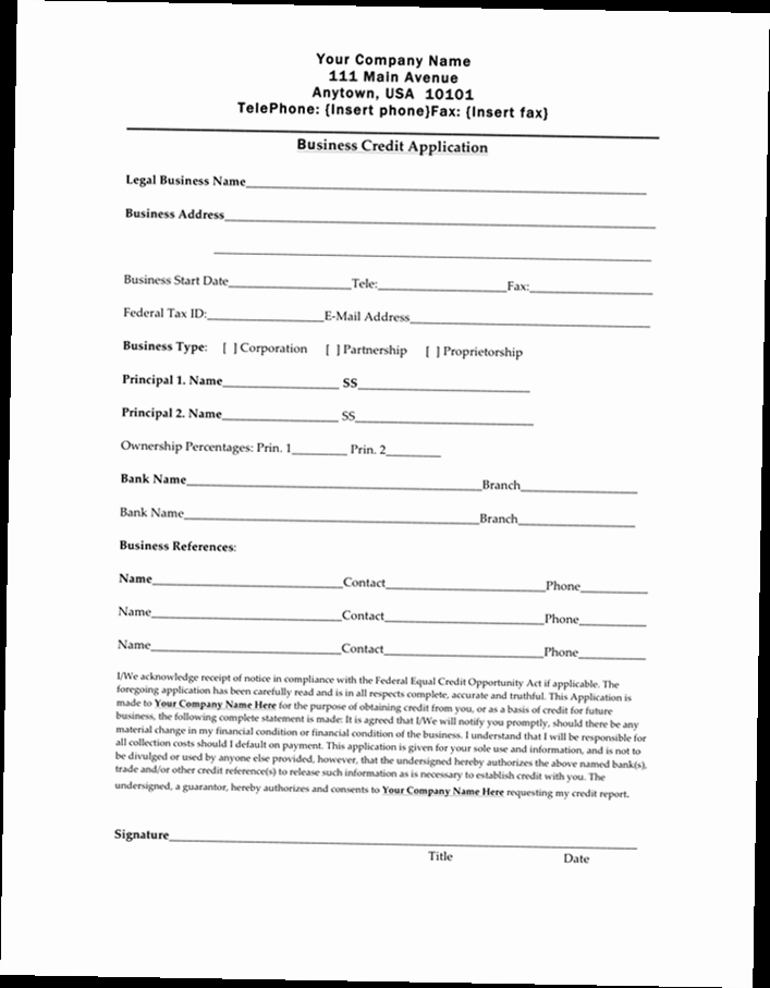 Credit Application form Pdf Best Of Business Credit Application form Pdf
