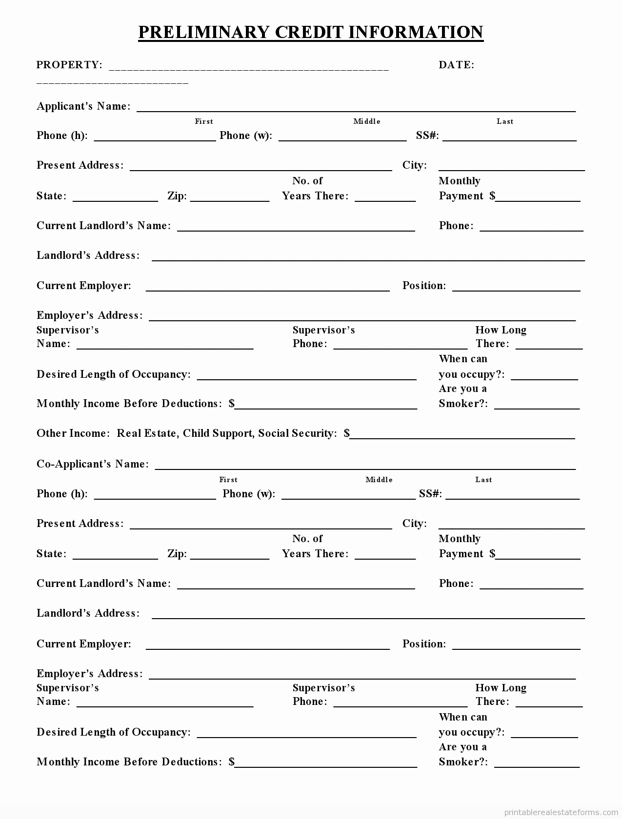 Credit Application form Pdf Fresh Free Printable Preliminary Credit Application form Pdf