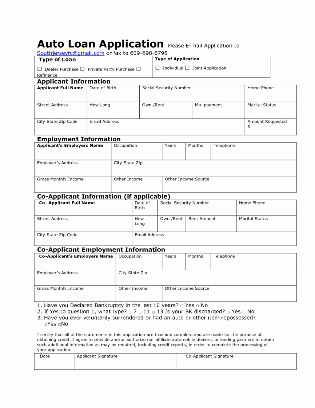 Credit Application form Pdf New Auto Credit Application Template