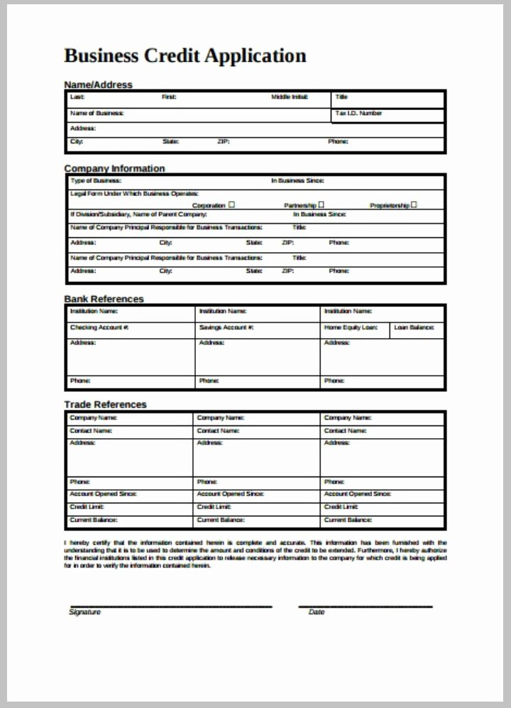 Credit Application form Pdf Unique 8 Credit Application form Templates Pdf