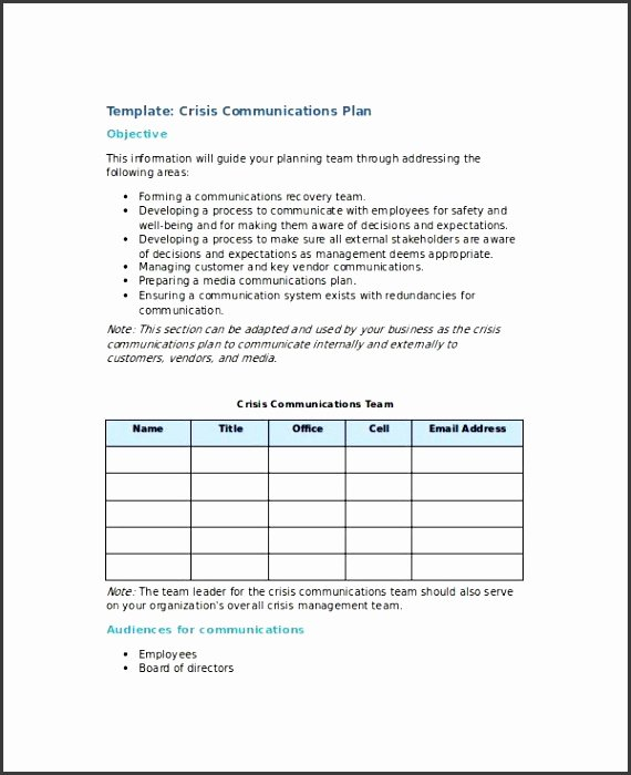Crisis Communication Plan Template Best Of 6 Crisis Munication Plan Template Sampletemplatess