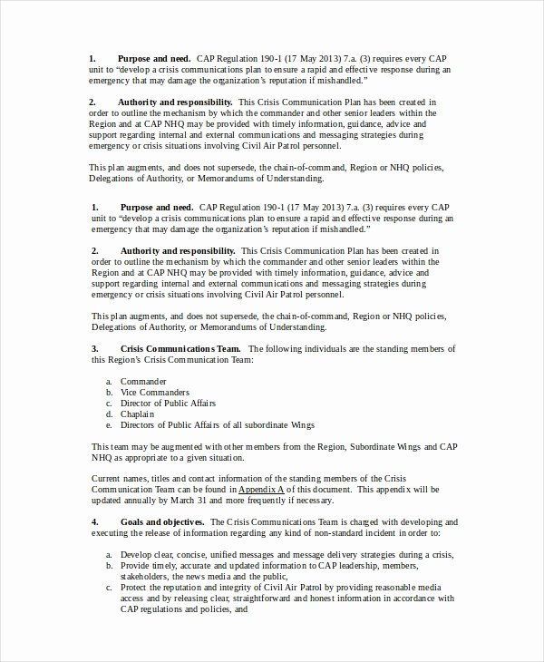 Crisis Communication Plan Template Luxury Munication Plan 13 Pdf Word Documents Download