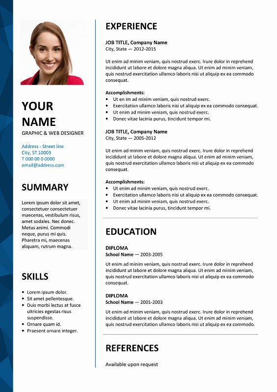 Curriculum Vitae Template Word Beautiful Dalston Free Resume Template Microsoft Word Blue Layout
