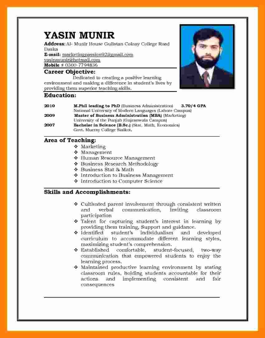 Curriculum Vitae Template Word Best Of 6 Cv Pattern for Job