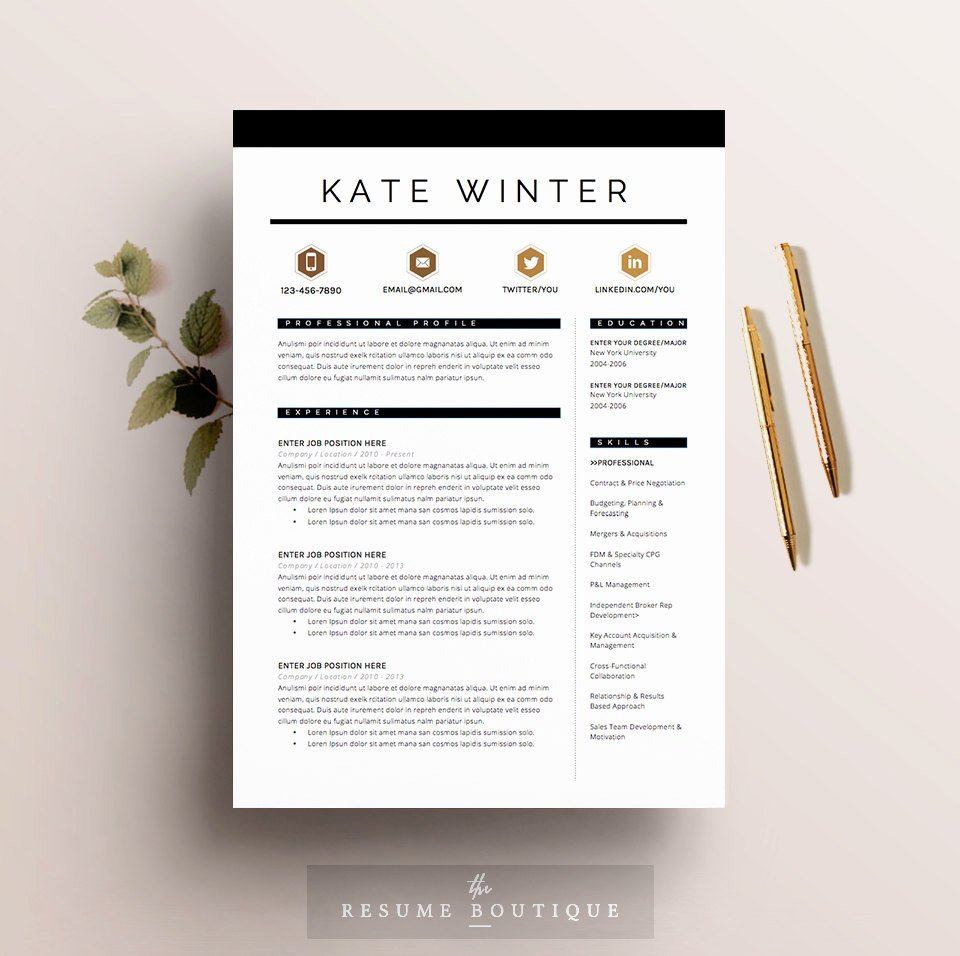 Curriculum Vitae Template Word Best Of Resume Template 4 Pages Cv Template Cover Letter for Ms