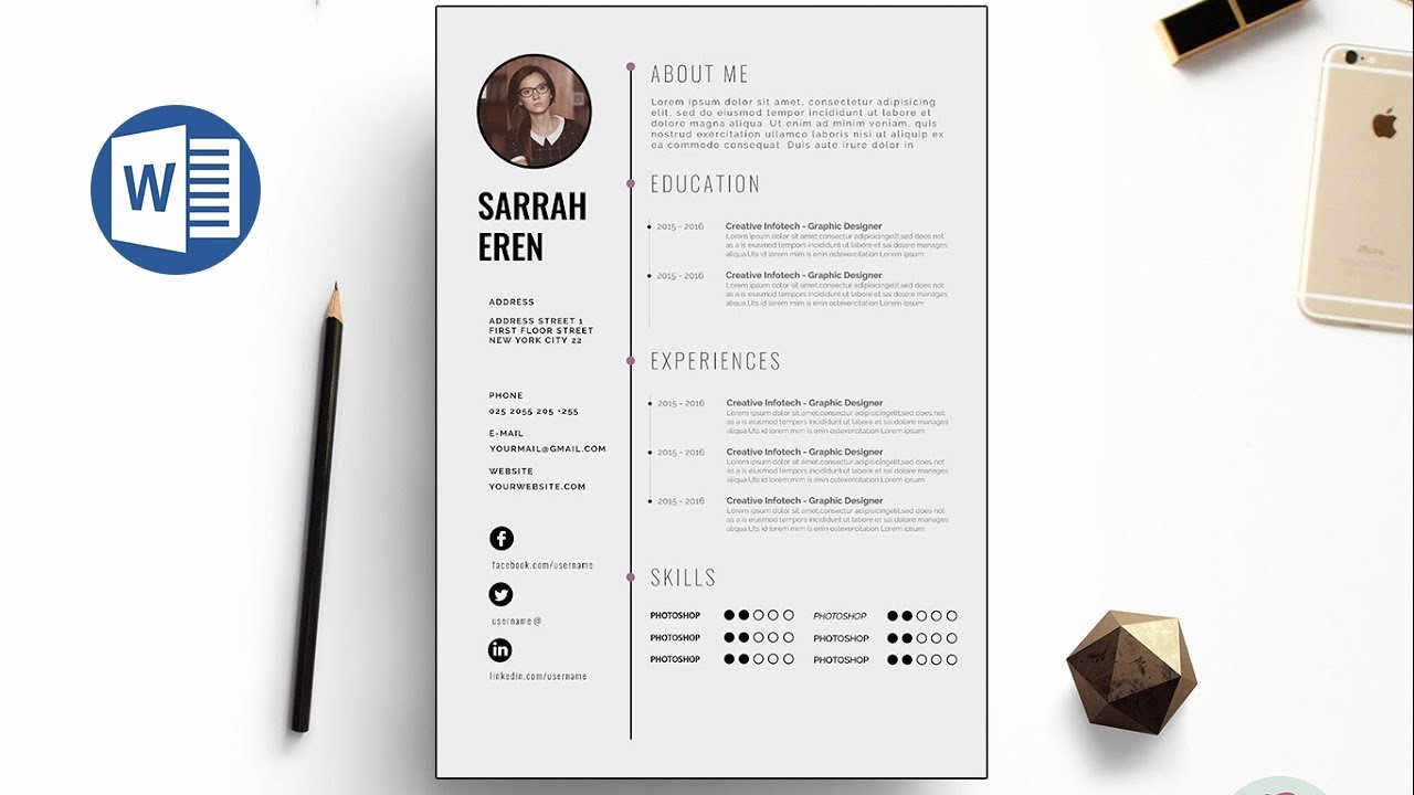 Curriculum Vitae Template Word Elegant Clean Cv Template Design In Microsoft Word Docx File
