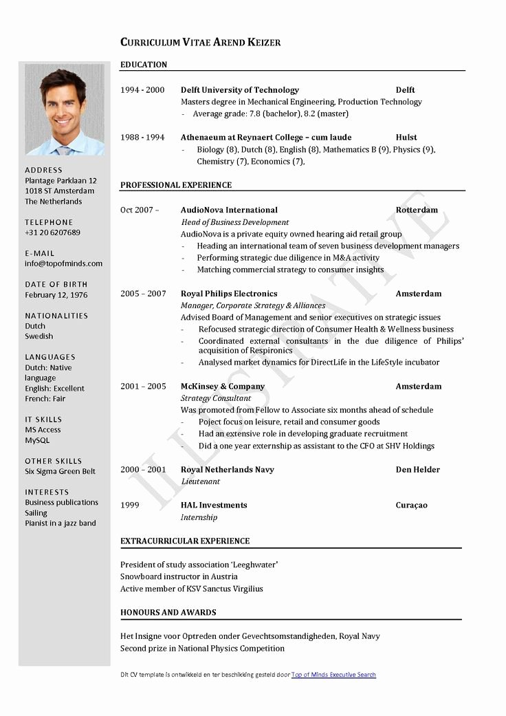 Curriculum Vitae Template Word Fresh Free Curriculum Vitae Template Word Download Cv Template