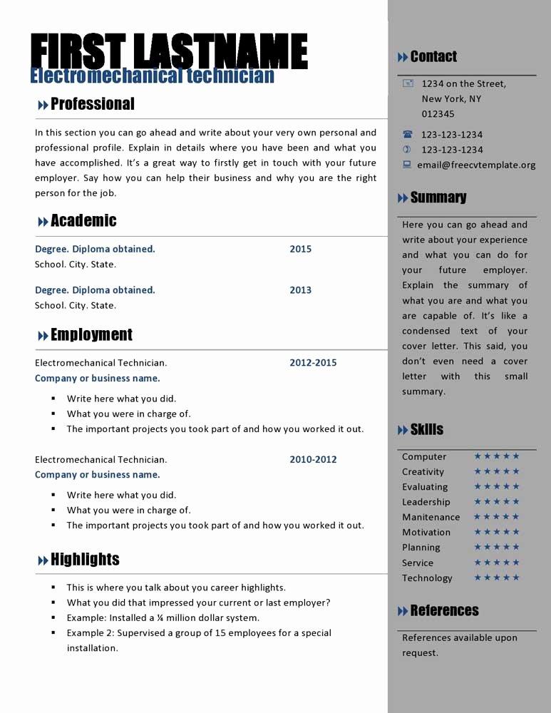 Curriculum Vitae Template Word Fresh Free Curriculum Vitae Templates 466 to 472 – Free Cv