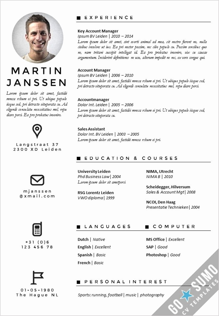 Curriculum Vitae Template Word Lovely 54 Best Go Sumo Cv Templates Resume