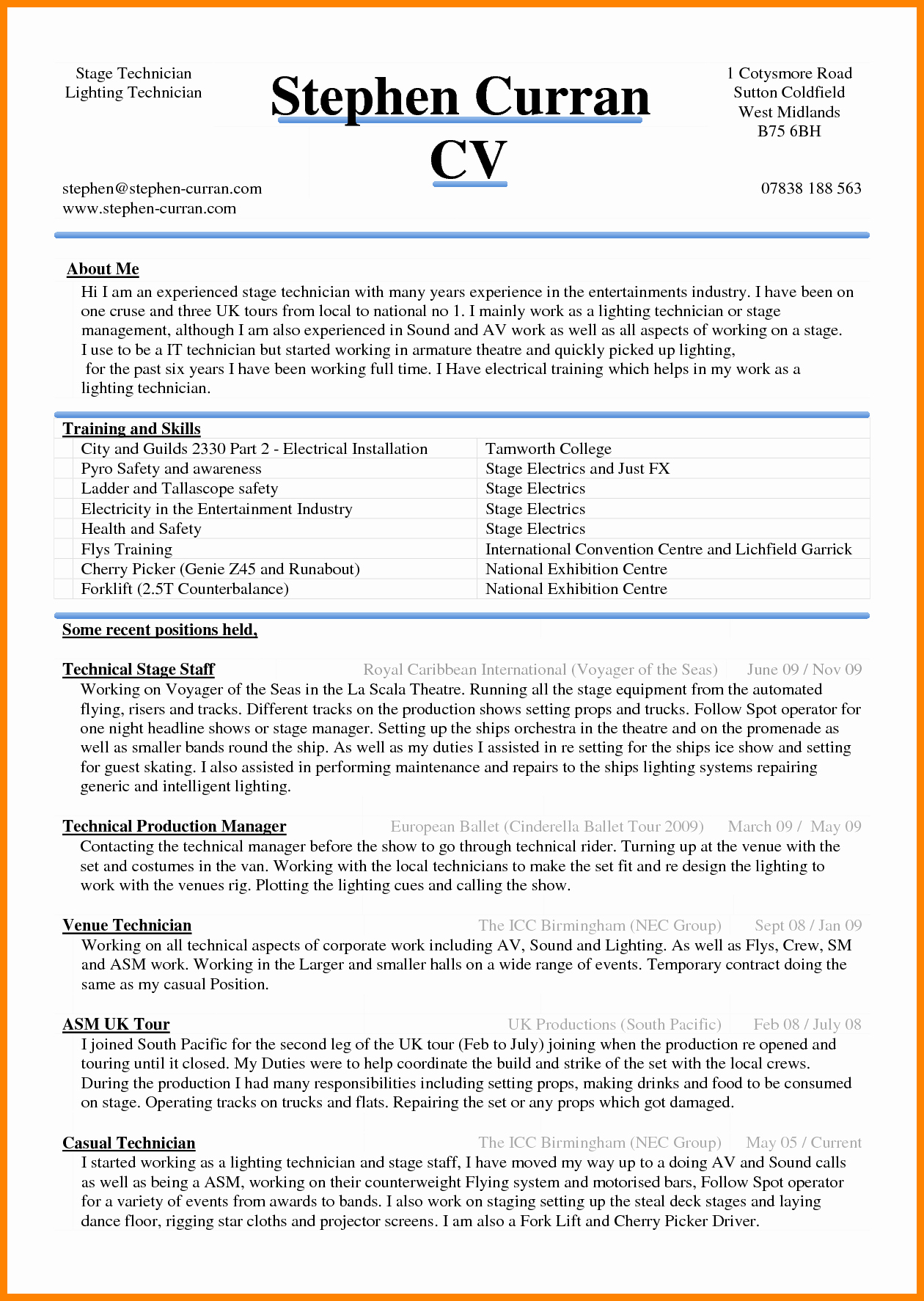 Curriculum Vitae Template Word Lovely 6 Curriculum Vitae In Ms Word