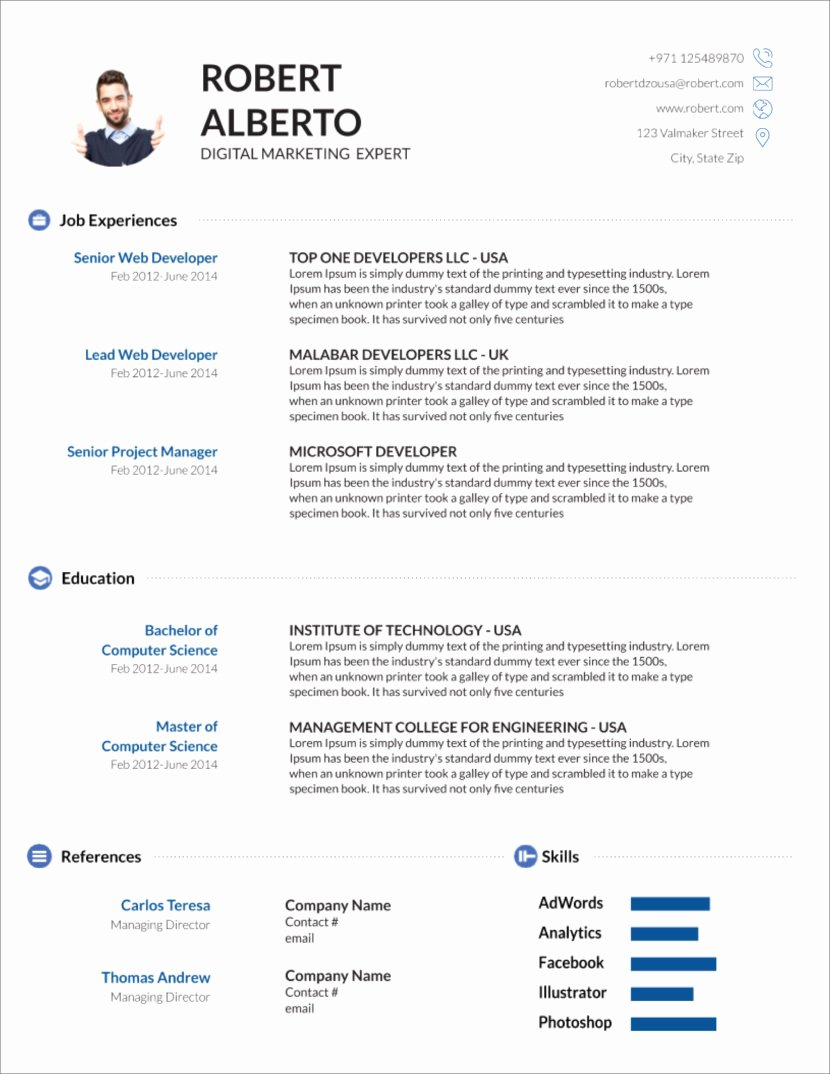 Curriculum Vitae Template Word New 45 Free Modern Resume Cv Templates Minimalist Simple