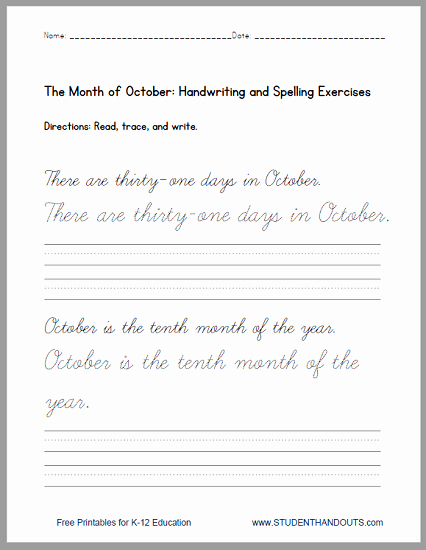 Cursive Handwriting Practice Pdf Elegant Print or Cursive October Handwriting Practice Sentences