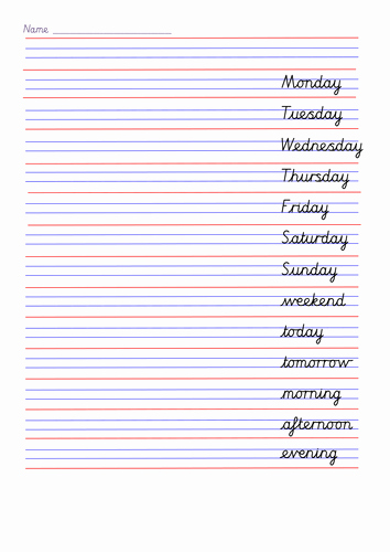 Cursive Handwriting Practice Pdf Lovely Cursive Handwriting Sheets for Days Of the Week Months