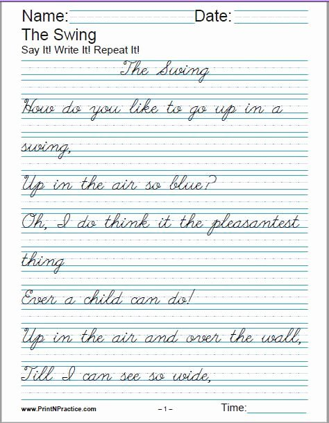 Cursive Handwriting Practice Pdf Unique Printable Handwriting Worksheets ⭐ Manuscript and Cursive