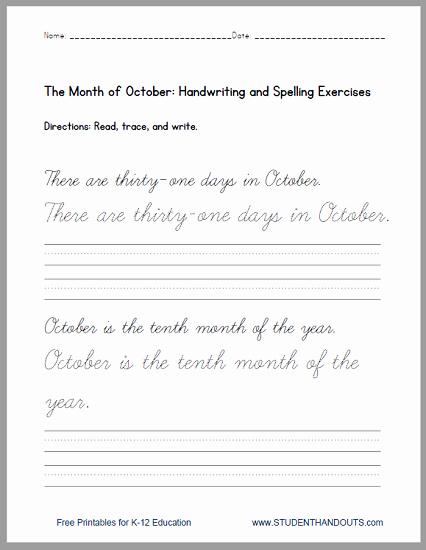 Cursive Writing Practice Pdf Beautiful Print or Cursive October Handwriting Practice Sentences