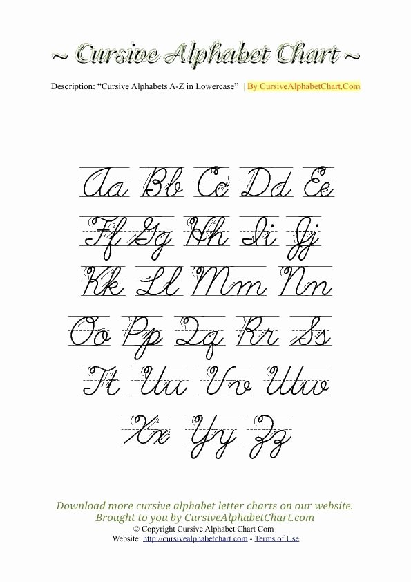 Cursive Writing Practice Pdf Beautiful Uppercase & Lowercase Cursive Alphabet Charts with Arrows