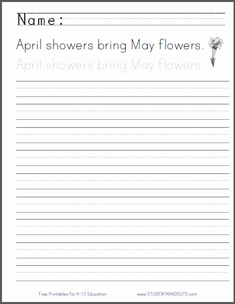 Cursive Writing Practice Pdf Best Of April Showers Handwriting Practice Worksheet
